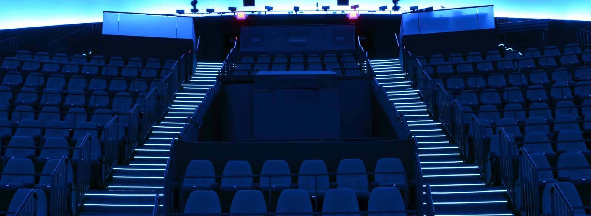 Light Tape IMAX Theater Illuminated Step Edge Installation.